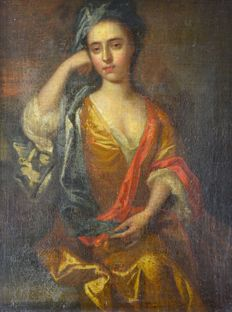 Continental school (18th century) A portrait of a lady in her finery.