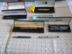 Pens by Montblanc, Waterman, Paperino Mate, Platignum, Pierre Cardin, Delta + Cartier case
