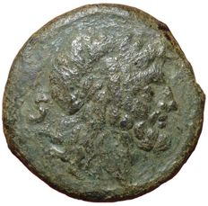 Roman Republic - Anonymous issue after 211 BC - Æ Semis (25mm, 14,09g.), Rome mint - Head of Saturn / Prow - Cr. 56/3; BMCRR Roma 229