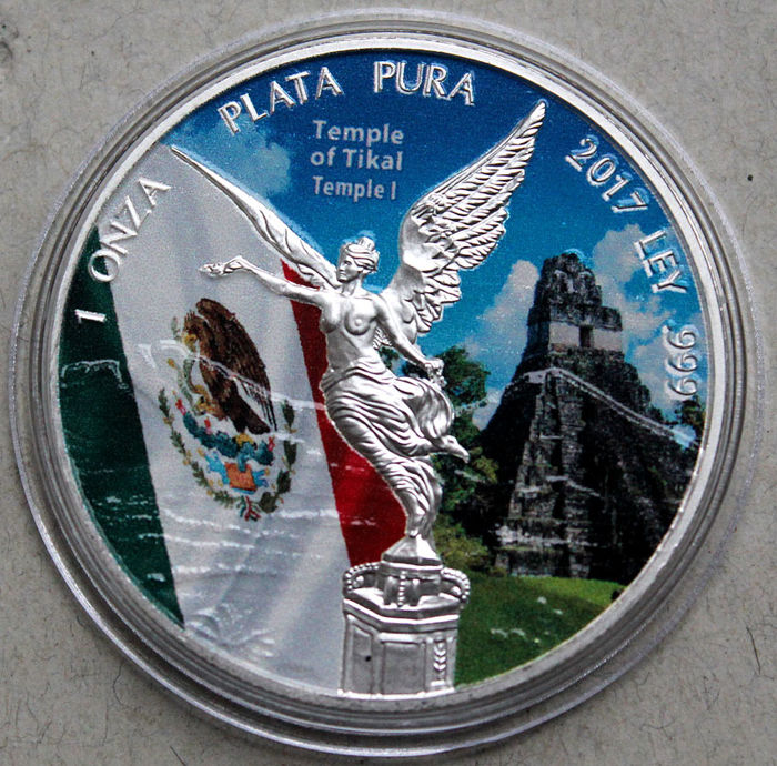 Mexico - 1 oz 2017 'Libertad - Temple of Tikal' Color - 1 oz silver