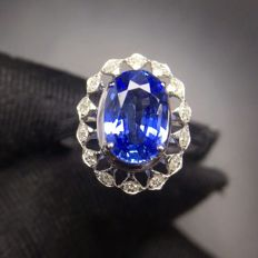 2.01 Carat Sapphire Ring In 18K Solid White Gold Diamond Ring Size: 6.35; Free Shipping