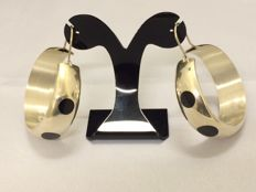 Taxco Mexico Silver Earrings with Onyx - diameter: 4.54 cm