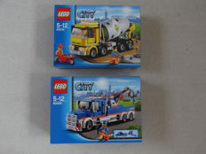 City - 60018 + 60056 - Cement Mixer + Tow Truck