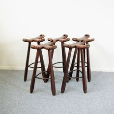 Manufacturer unknown - 5 vintage Spanish barstools