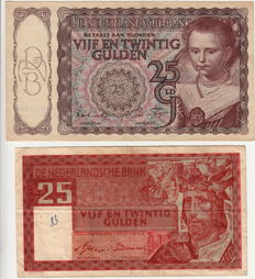 Netherlands - 25 guilders 1943 Little Princess and 25 guilders 1949 Solomon
