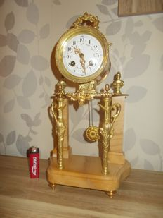 French empire column mantel clock, bronze gold plated with marble - Japy Freres Et Cie Exposition 1855