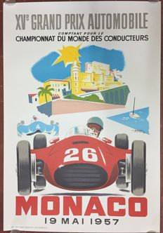 Grand Prix Automobile de Monaco 1957  - Poster 68 x 100 cm - printing in 1985