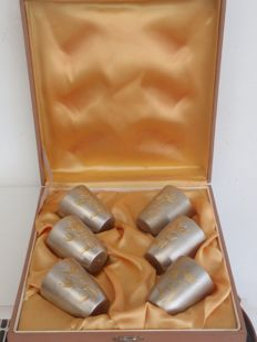 Set of six vermeil silver vodka cups in box - Soviet Union - 1958/2002
