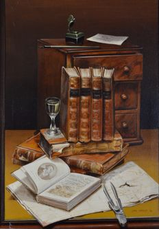 John Harrad (20th century) - A pair of still life of books, candlestick and objects