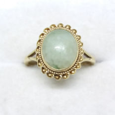 Old cut apple Nephrite ring set in solid yellow gold, large cabochon design