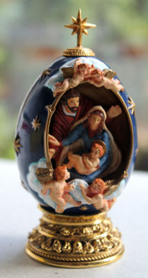 "Franklin Mint - Fabergé Decorative Egg - ""The birth (the Nativity)"" - hand painted"