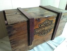 Large rustic wooden crate with Harley-Davidson industrial style prints