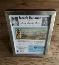 Godfather - Mafia boss Joseph Bonanno - signed check from 1978 with certificate