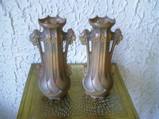 Bernhard Bloch for Teplitz Austria - A Pair of Double-Handled Ceramic Vases