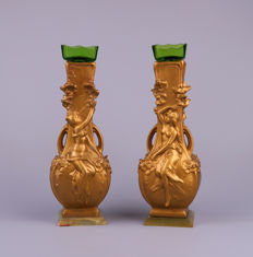Auguste Moreau - A pair of Art Nouveau gold-plated zamak ornamental vases with female figures