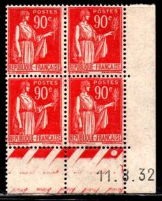 France 1932 - Dated corner Paix from 11/08/1932 - Yvert no. 285