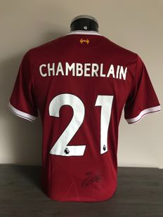 Alex-Oxlade Chamberlain signed Liverpool Fc home 2017-2018 shirt with photos of the moment of signing and COA