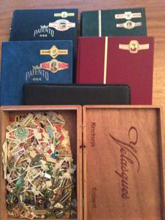 Neat collection of cigar bands in 5 albums and a case with approx. 3000 items