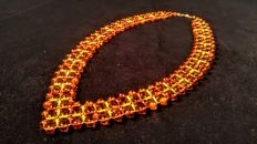 Vintage 100% Natural braided Baltic Amber necklace, 27 grams