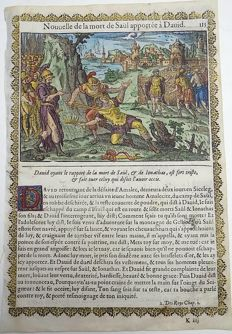 2 prints a attributed to Jean Le Clerc (1587/88-1633) - Death of Saul / Death of Ishbosheth - 2 handcoloured woodcuts on folio leaf - 1614