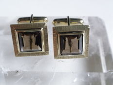 Cufflinks made of 333 gold with smoky quartz