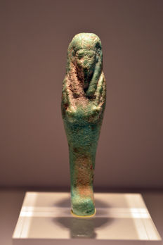 Egyptian turquoise blue faience Shabti – 67 mm