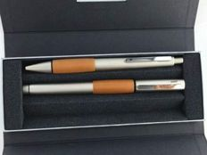 Lamy Accent ballpoint and rollerball pen, matte silver/wood