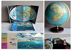3 - lot: JRO - LTU globe with flight paths, KLM - board game and Space game
