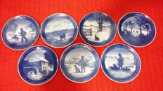 Lot of 7 Royal Copenhagen Christmas Plates years 1965-1968-1971-1972-1976-1977-1978
