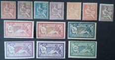 France 1900/27 - Lot of Merson and Mouchon types - Yvert no. 112/115, 117, 119, 121, 123, 125, 126, 143, 206 and 240