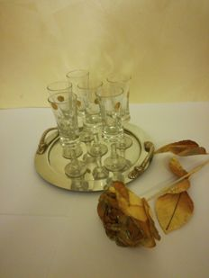 Elegant Genuine Lead Hand Cut Crystal set of flutes with silver tray