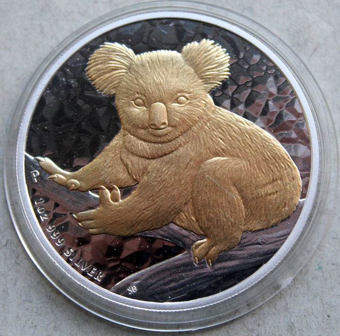 Austrália - 1 Dollar 2009 Koala mit 24kt Goldapplikation - 1 Oz - Prata