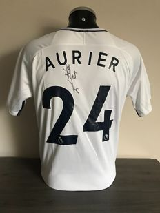 Serge Aurier signed Tottenham Hotspurs home shirt 2017-2018 with photo of the moment of signing and COA