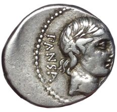 Roman Republic - C. Vibius C.f. Pansa - AR Denarius (Silver, 19/17mm; 4,04g), Rome mint c. 90 BC - Head of Apollo / Minerva in quadriga - Cr. 342/5 b; Syd. 684 (Type B)