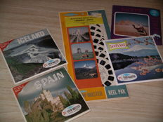 """View-Master 7-Reel Packet """"Faraway Lands"""". Plus four packets, each with three reels: Egypt, Japan, Spain, Iceland"""