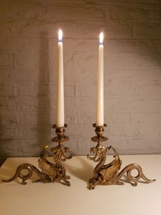 A set of brass 1-light candlesticks in the form of dragons - France - mid 20th century