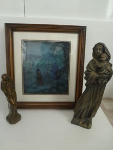 3D depiction Mary & Joseph - signed Anton Pieck in oak frame & two Mary statues (Madonna)