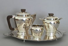 Art Deco 3-piece silverplated tea set