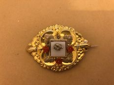 Antique gold foil brooch with coral blossoms