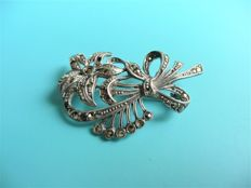 Brooch in silver, Edelweiss, hallmark 835 weight