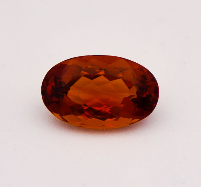 Citrine - Intense reddish orange - 11.07 ct