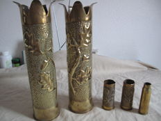 lot of 2 pairs of french shell casings, trench work chiselled 1917 and paper knife