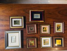 9 small squares in gold leaf