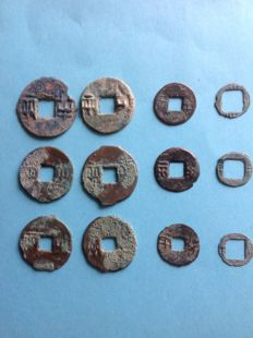 China - 6 very old Pre-Qin Ban-Liang coins c. 350-300 BC And 6 smaller ones from the Zhou.en. West-Han.
