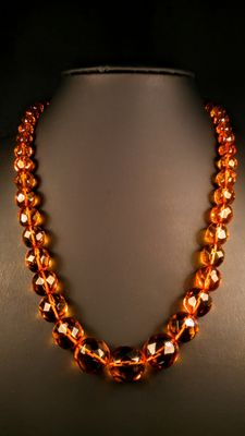 Vintage ca. 1970's 100% Natural Hand Faceted cognac/ Ruby colour Baltic Amber necklace, 27 grams