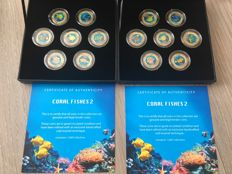 Cook Islands - 25 Cents 2000 'Coral Fish Enameled' (14 Coins) in 2 sets - copper-nickel