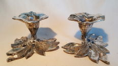 Set of two, heavy, elegant, silver tin flowers candle stands