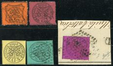 Papal States, 1852 – Lot of 5 stamps