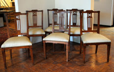 A set of six Louis XVI elm wood chairs - the Netherlands - circa 1800