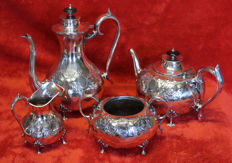 Silver plated coffee and tea set, Martin Hall, Sheffield, ca. 1900